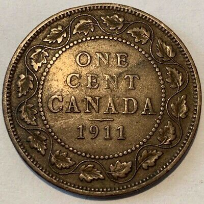 1911 Canada One Large Cent KGV Coin