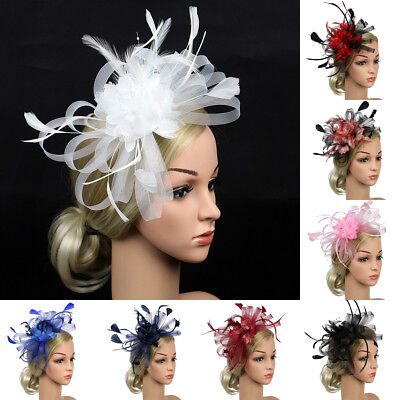 Large Flower Feather Comb Fascinator Wedding Races Proms Bridal Hair Accessory
