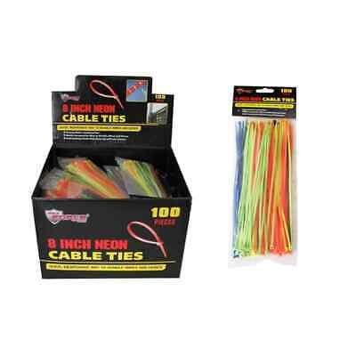 "8"" Neon Cable Ties - 100 Pack"