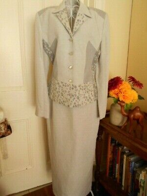 VINTAGE 1980's SUIT BY  ANTHEA CRAWFORD STONE GREY LONG  PENCIL SKIRT & JACKET