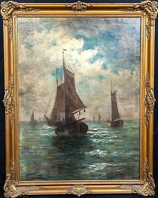 Large 19th Century German School Moonlit Fishing Ships Sailing by D WOLFF