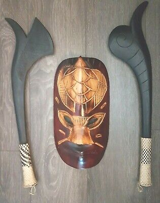 Hand Carved Tribal Tiki Mask w/ Sea Turtle & 2 x Wooden Axe From Fiji