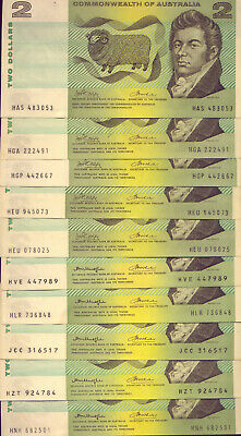 10 x $2 PAPER  NOTES : PHILLIPS & WHEELER + KNIGHT & WHEELER   NO  RESERVE