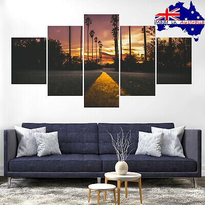 Road Palm Tree Sunset Canvas Print Painting Framed Home Decor Wall Art Picture