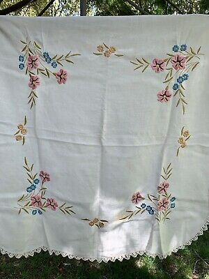 Gorgeous square vintage linen tablecloth
