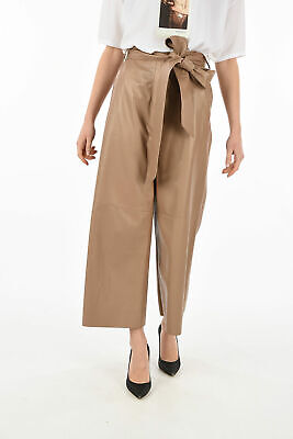 DROME women Trousers Brown Sand Leather Belted Pants Sz S Wide Leg Brown S (S...