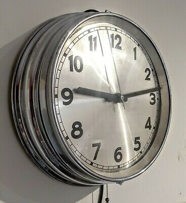 Art Deco Wall Chrome Clock Vintage 12inch 1930s School Station Mains Electric