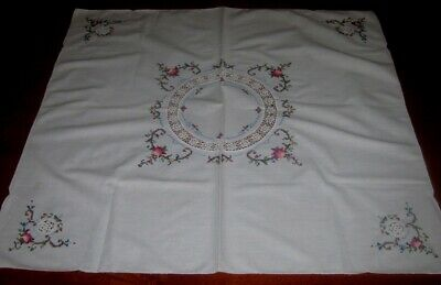 Vintage Hand Embroidered Supper Cloth With Crocheted Lace Inserts~White~Square