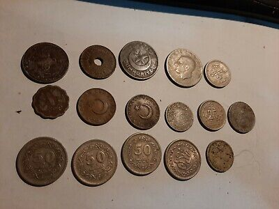 Group of 16 Coins from Turkey - all different DATES AND VALUES (DECEASED ESTATE)