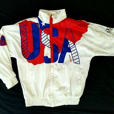 Vintage 90s Adidas USA OLYMPIC Old Skool Team Track Jacket WINDBREAKER UNISEX M