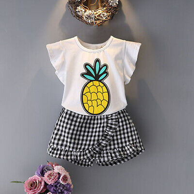 Summer Children'S Suit Toddler Kids Baby Girls Outfits Clothes Pineapple Sh W9K8
