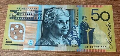 Australia 2006 $50.00  General Prefix Special Solid Numbers 222222=Circulated =