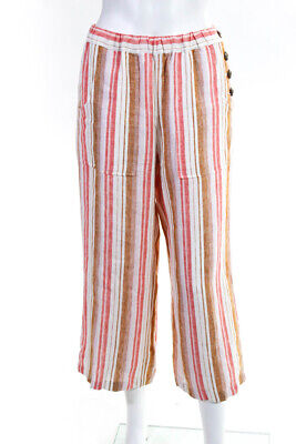 Joie  Womens Cropped Pants Coral Stripe Print Linen Size Extra Small