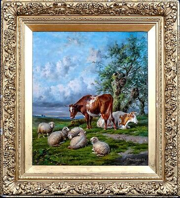 Fine Large 19th Century English Cattle & Sheep Landscape Thomas Sidney COOPER