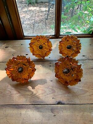 4 Amber Glass Curtain Tie-backs