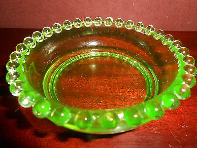 Green Vaseline glass candlewick candy dish nappy soap jam tip tray bowl uranium