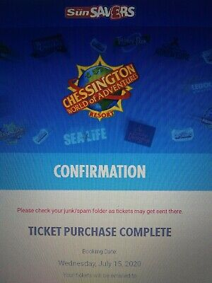 Chessington World of Adventures. 2 Tickets For 15/07/2020
