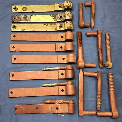 Lot of 9 Antique Vintage Hand Forged Barn Door Gate Hinges with Pins