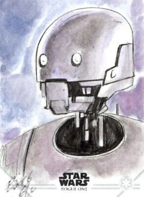 Star Wars Rogue One Sketch Card, K-2SO by Elfie Lebouleux
