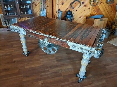 Antique NUTTING railroad cart industrial factory table buffet console cast iron