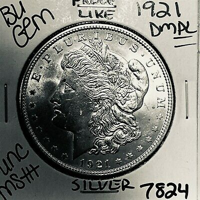 1921 Bu Gem Morgan Silver Dollar Unc Ms++ Genuine U.s. Mint Rare Coin 7824