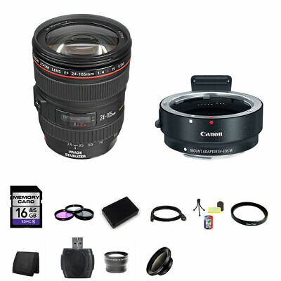 Canon 24-105mm f/4L IS USM Lens w/EF-M Adaptor for EF/EF-S Lenses 16GB Package
