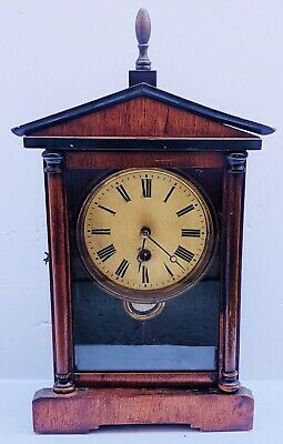 Antique 19th C AMERICAN EMPIRE Classical Carved WOOD MANTEL Shelf CLOCK