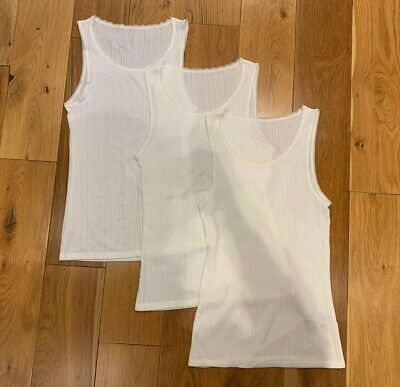 Marks & Spencer White Pointelle Thermal Vests X3, Size 14