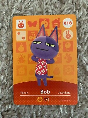 Authentic Animal Crossing Bob Amiibo Card TESTED MINT New Leaf Horizons