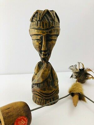 Vintage Haitian Wood Statue Voodoo Hand Carved Two Faced Woman