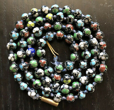 Fine Old Chinese Japanese Cloisonne Beaded Necklace Art Colorful Flowers NR
