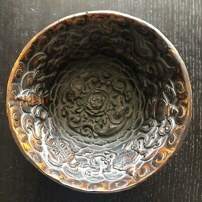 Fine Old Chinese Tibetan Carved Molded Resin Dragon Swirl Cloud Bowl Scholar Art