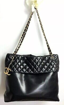 Chanel Authentic Vintage 80s Quilted Black Lambskin Chain CC Logo XXL Tote Bag