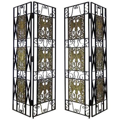 Incredible High French Art Deco Bronze & Iron Room Divider Dressing Screen C1920