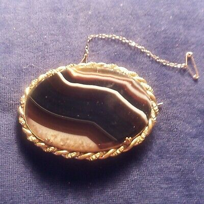 Antique Victorian Black Agate Brooch Pin Very Large Size