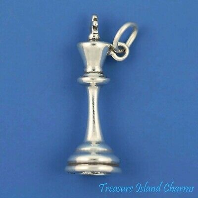 Pawn Chess Game Piece 3D .925 Solid Sterling Silver Charm Pendant MADE IN USA