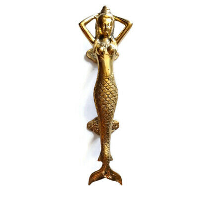 "Polished MERMAID 100 % Brass door PULL old style heavy house PULL handle 13"" B"