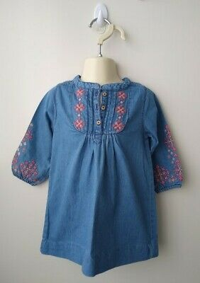 PUREBABY Girls Blue Chambray Dress with Embroidery - Size 1