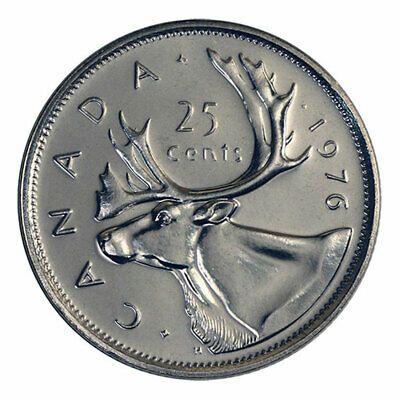 1976 Canada 25 cent Coin Quarter CIRCULATED Caribou Queen Elizabeth II