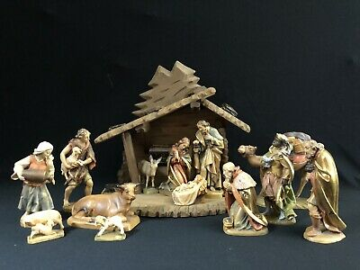 """~*~14 Pc Lepi Italy Wood Carved Nativity Set 5"""" Scale w/ Stable Anri-style~*~"""