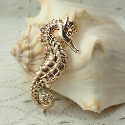 VTG Antiqued Gold Over Sterling Silver Sea Horse Pin Brooch Weighs 16.5 Grams