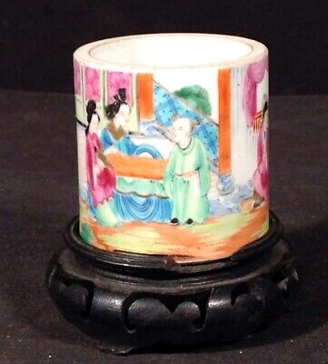 Antique 19th Century Chinese Rose Medallion Hand Painted Porcelain Vase On Stand