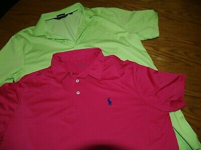 Lot Of 2~Mens~Polo By Ralph Lauren Golf~Performance Shirts~Sz L~S/S~Polyester