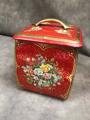 Vintage Square Tin From Western Germany Red Floral