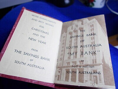 ❤️ DIARY 1956 Savings Bank Of South Australia Used Great Social History Small
