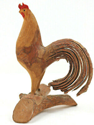 "Primitive Folk Art Hand Carved Wood Twig Rooster Chicken 4.5"" H"