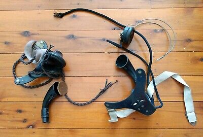 2 x Vintage Bakelite Phone Telephone Switchboard Headsets Made in England