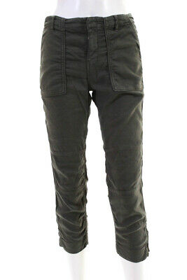 The Kooples  Womens Zip Up Ankle Cargo Pants Army Green Size 34