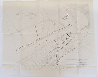 Antique 1800s Map of SOUTHERN PACIFIC RAILROAD Across FORT YUMA RESERVE ARIZONA