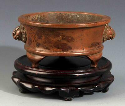 Chinese double Foo Lions Ear Bronze Censer. Ming Dynasty.